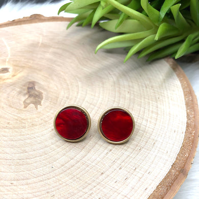 Red Marble Studs