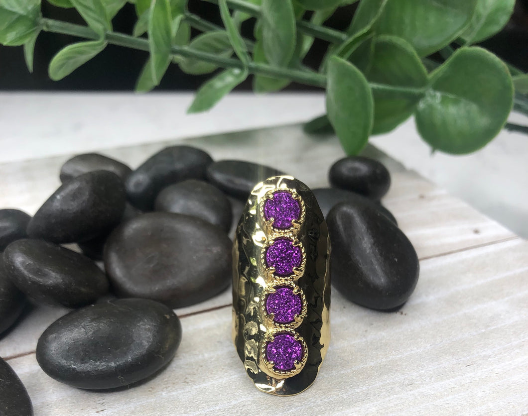 Purple Four Druzy Ring