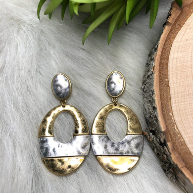Oval Hammered Gold Earrings