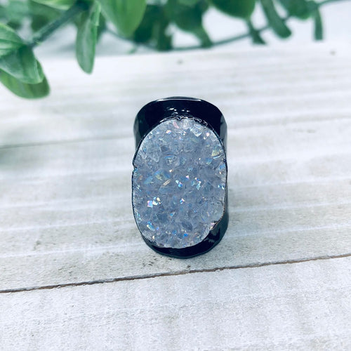 Black Clear Druzy Ring