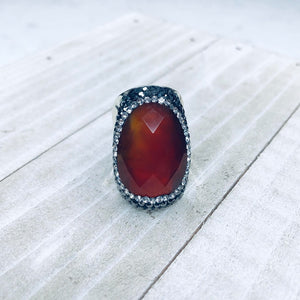 Red Faceted Ring