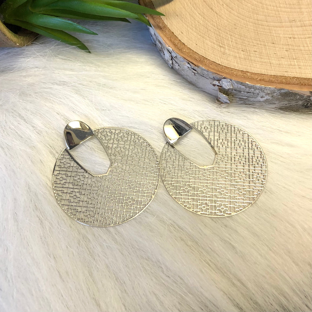 Round Silver Filigree Earrings