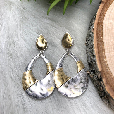 Tear Drop Hammered Silver and Gold Earrings