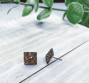Rose Gold Square Studs