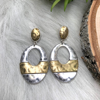 Oval Hammered Silver & Gold Earrings