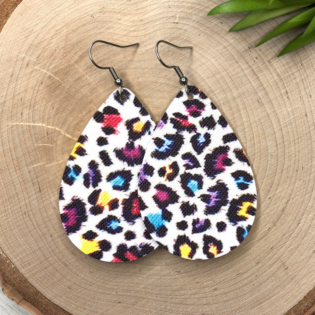 Rainbow Snow Leopard Earrings