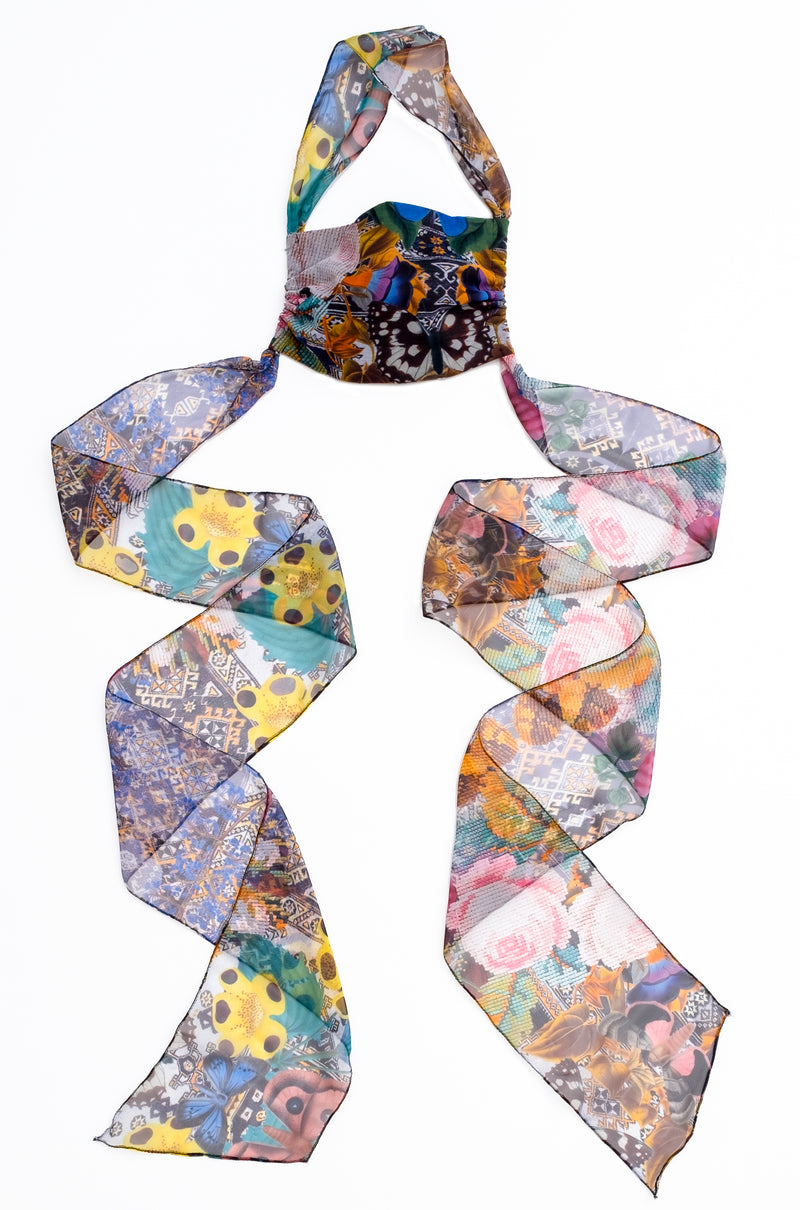 BUTTERFLY CHIFFON SELF TIE SCARF MASK