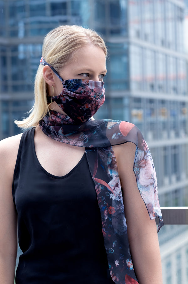 ROSE CHIFFON SELF TIE SCARF MASK