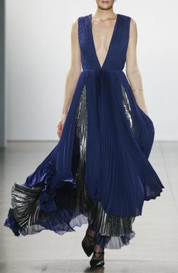Pleated Metallic Gown
