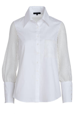 SEQUINED BUTTON DOWN BLOUSE
