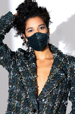 EMERALD SEQUIN DIP MASK