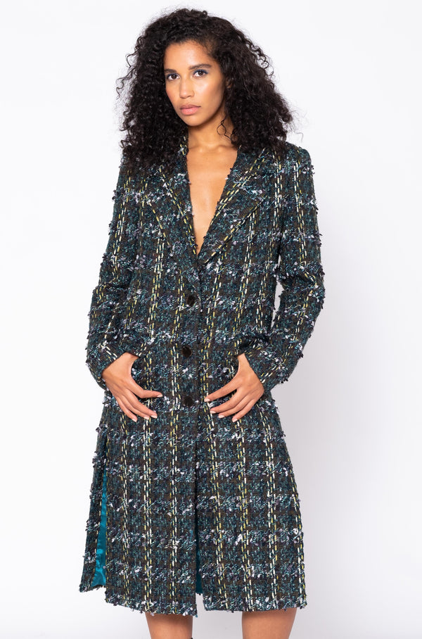 METALLIC TWEED SLIT COAT
