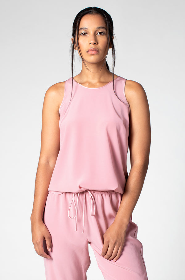 STRETCH SATIN LOUNGE TANK