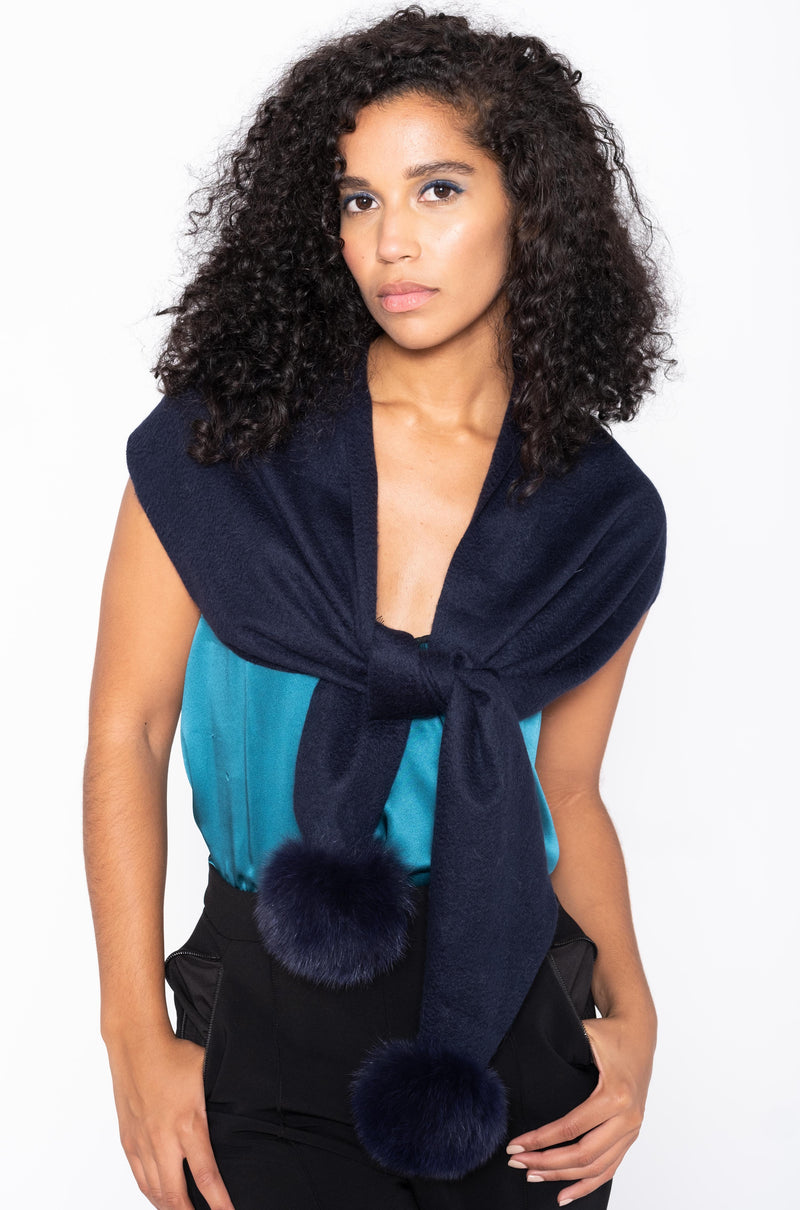 CASHMERE SCARF WITH POMPOMS