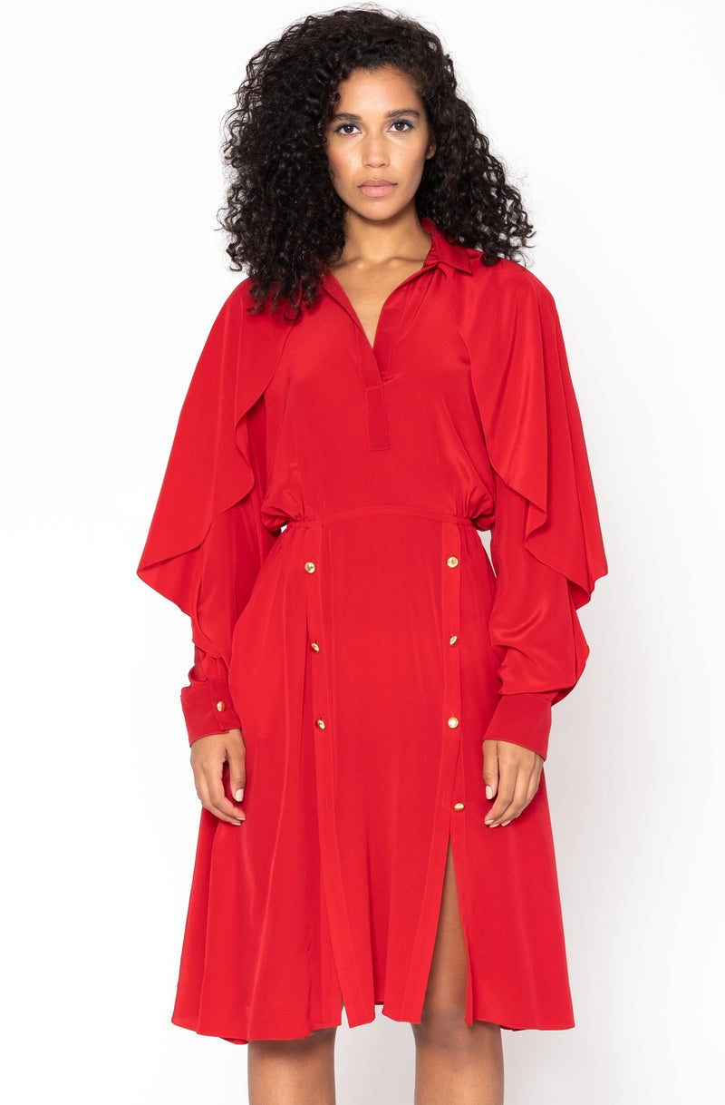 CASCADE SLEEVE SHIRT DRESS