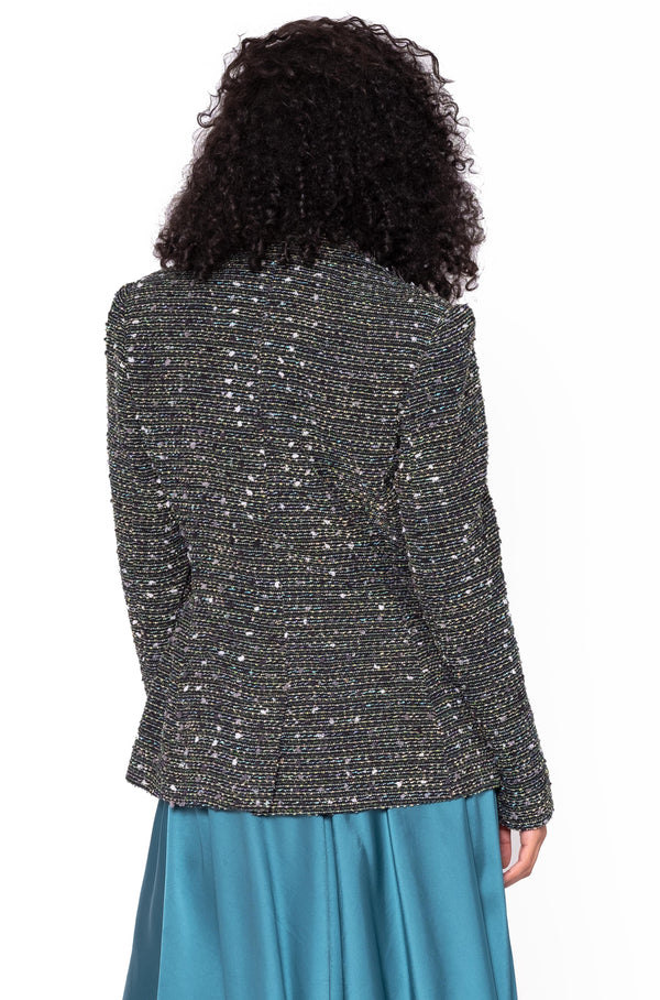 METALLIC TWEED FITTED BLAZER