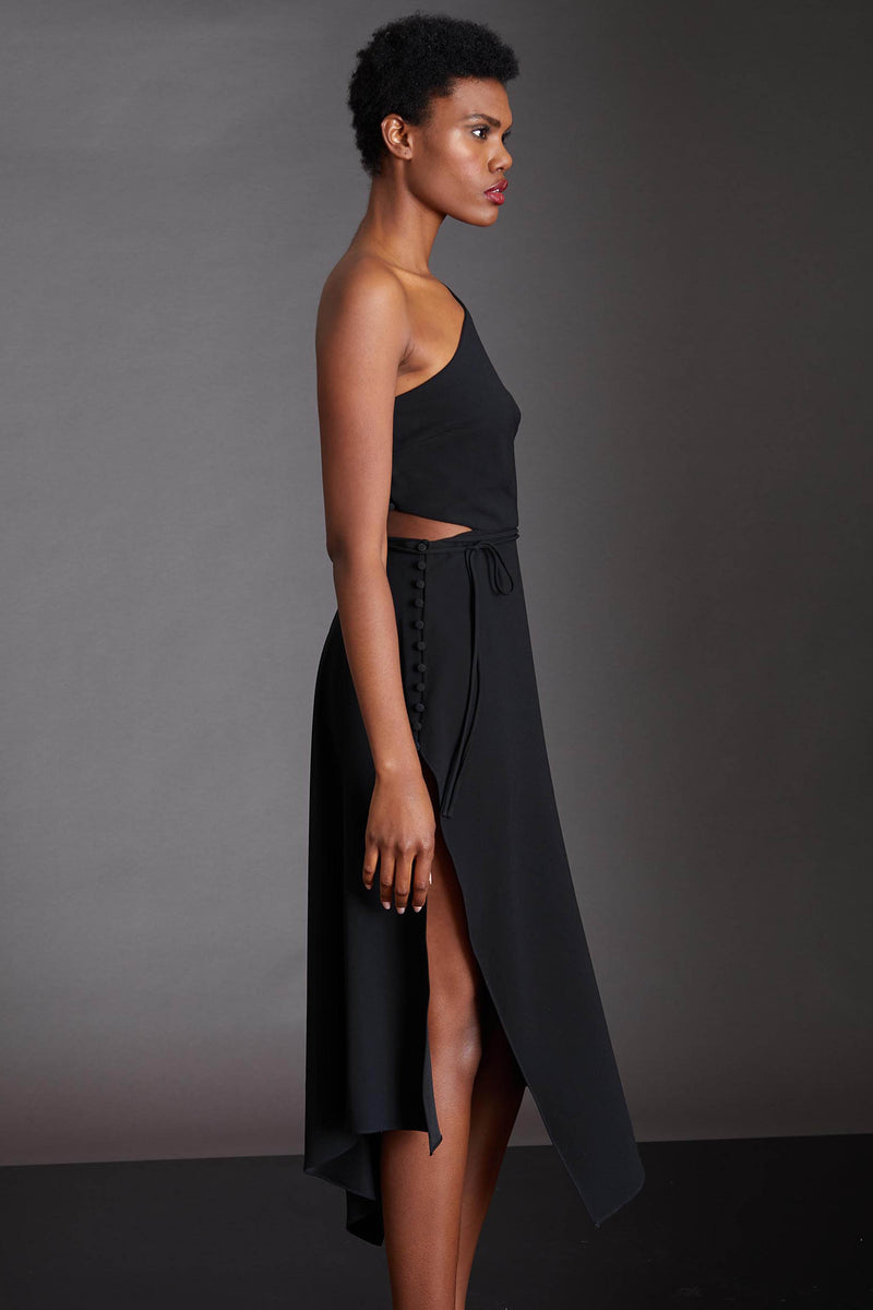 ASYMMETRICAL CREPE CUT OUT DRESS