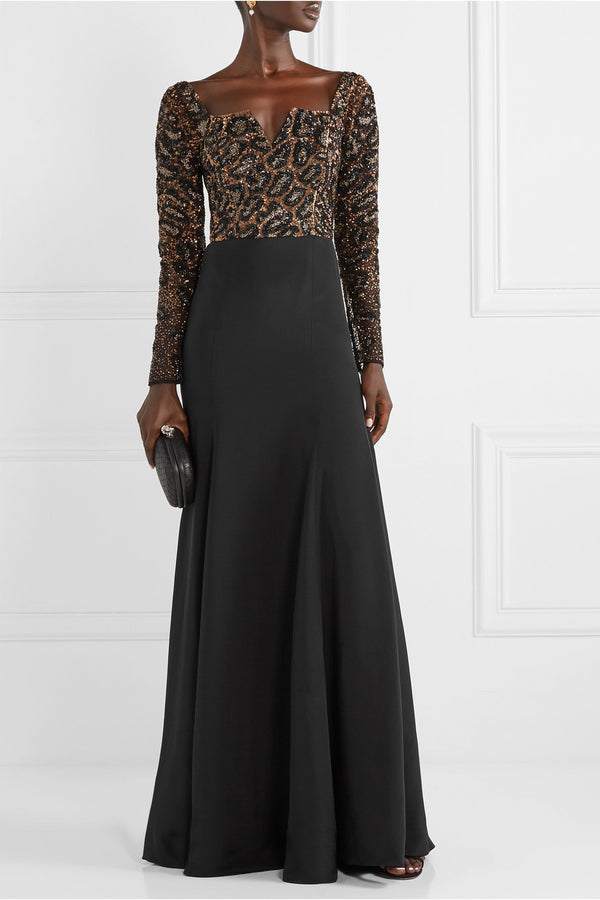 Cheetah Embroidered Crepe Gown