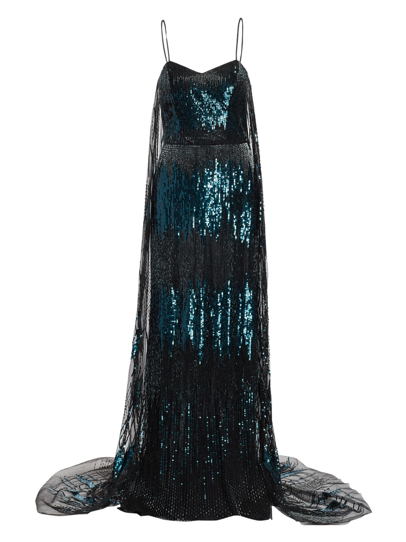 Cape Sequin Gown