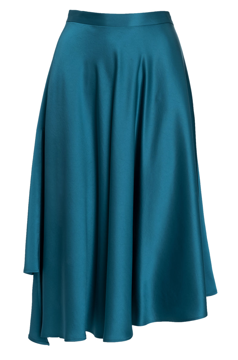 STRETCH SATIN ASYMMETRICAL SKIRT