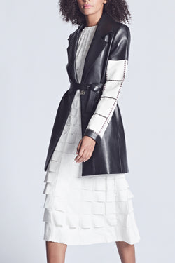 Leather Embroidered Coat