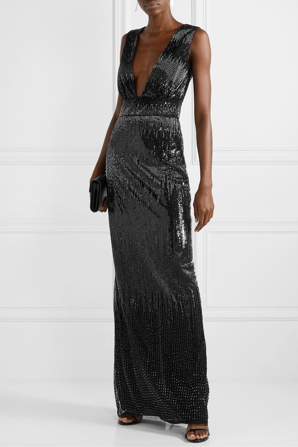 Embroidered Sequin Column Gown
