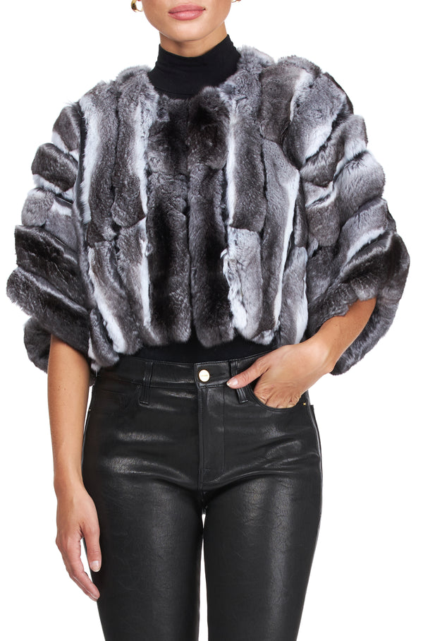 STRIPPED CHINCHILLA JACKET