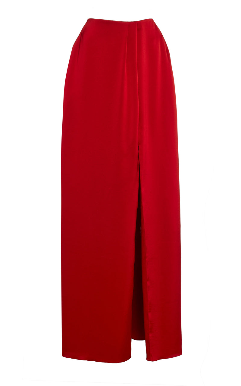 Satin Embroidered Maxi Skirt
