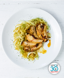 Apple Sage Chicken with Braised Cabbage
