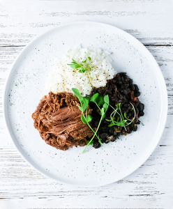 Barbacoa Beef with Black Beans and Cilantro Rice