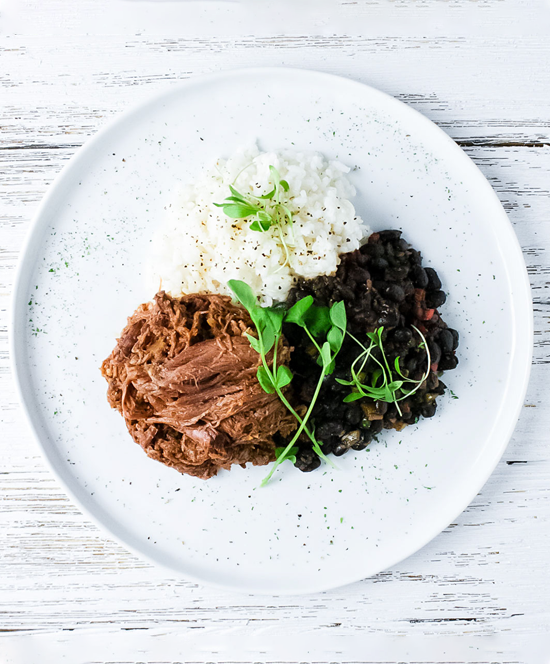 Barbacoa Beef with Black Beans and Cilantro Rice: