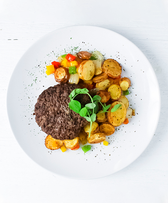 Beef Burger with Fingerling Potato Hash: