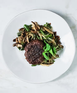 Beef Burger with Green Bean Salad