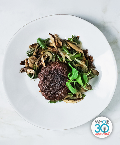 Beef Burger with Green Bean Salad: