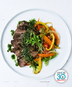 Chimichurri Steak with Peppers and Onions