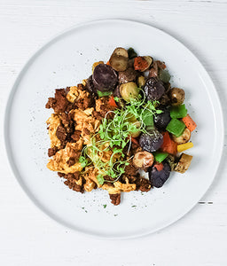 Chorizo Scramble with Yukon Potato Hash: