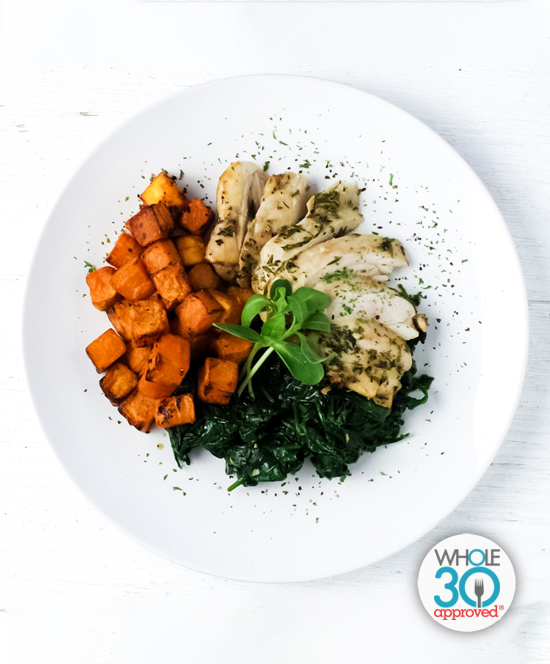 Citrus Herb Chicken with Spinach and Butternut Squash