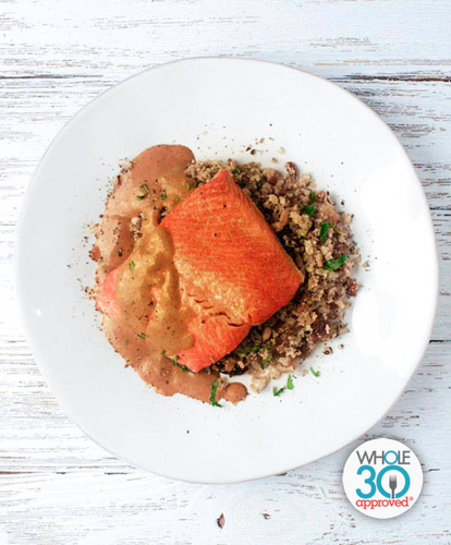 Coconut Curry Salmon with Zaatar Cauliflower Rice: