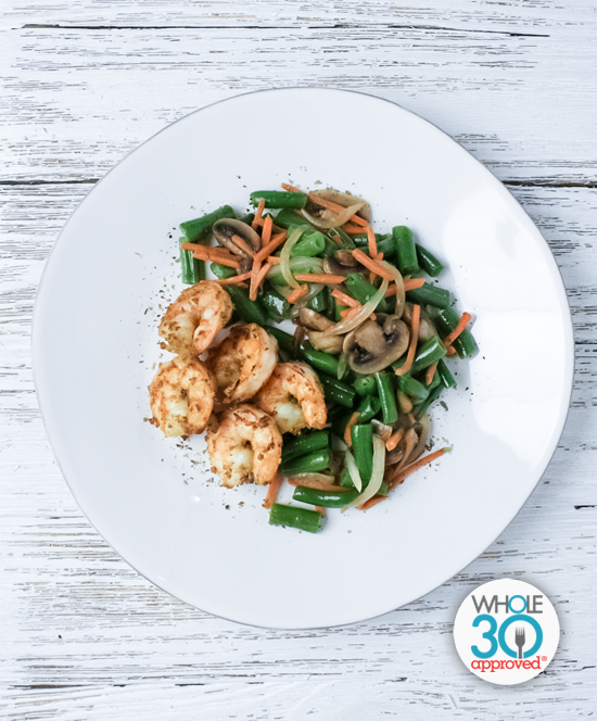 Fennel Dusted Shrimp with Green Bean Medley:
