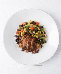 Red Chili Chicken with Black Bean and Corn Salsa