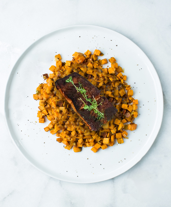 BBQ Rubbed Salmon with Sweet Potato Hash: