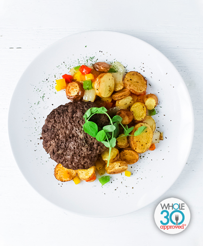 Beef Burger with Fingerling Potato Hash