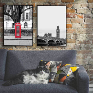 to london plakater med big ben og rød telefonboks