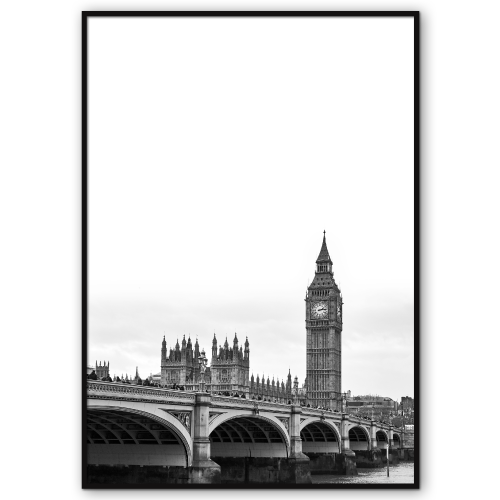 sort-hvid big ben plakat london city poster