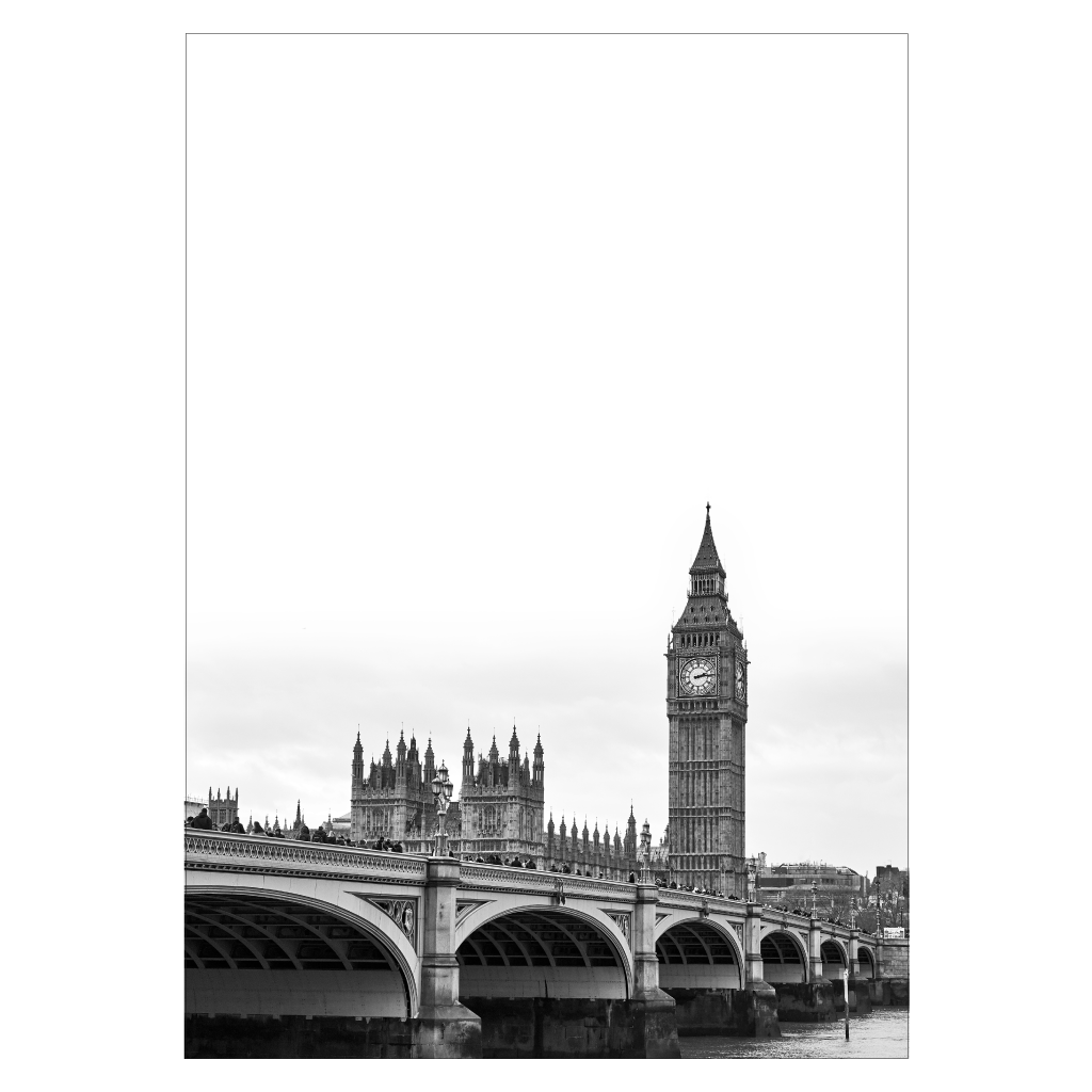 london plakat med big ben og westminster bridge