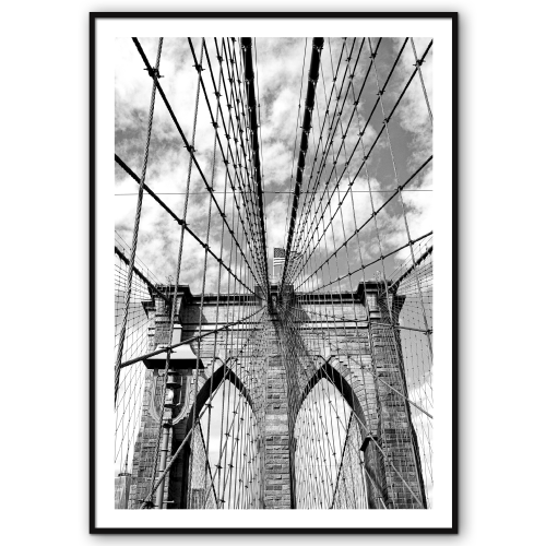 new york plakat med brooklyn bridge i sort-hvid