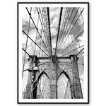 Ladda upp bild till gallerivisning, new york plakat med brooklyn bridge i sort-hvid