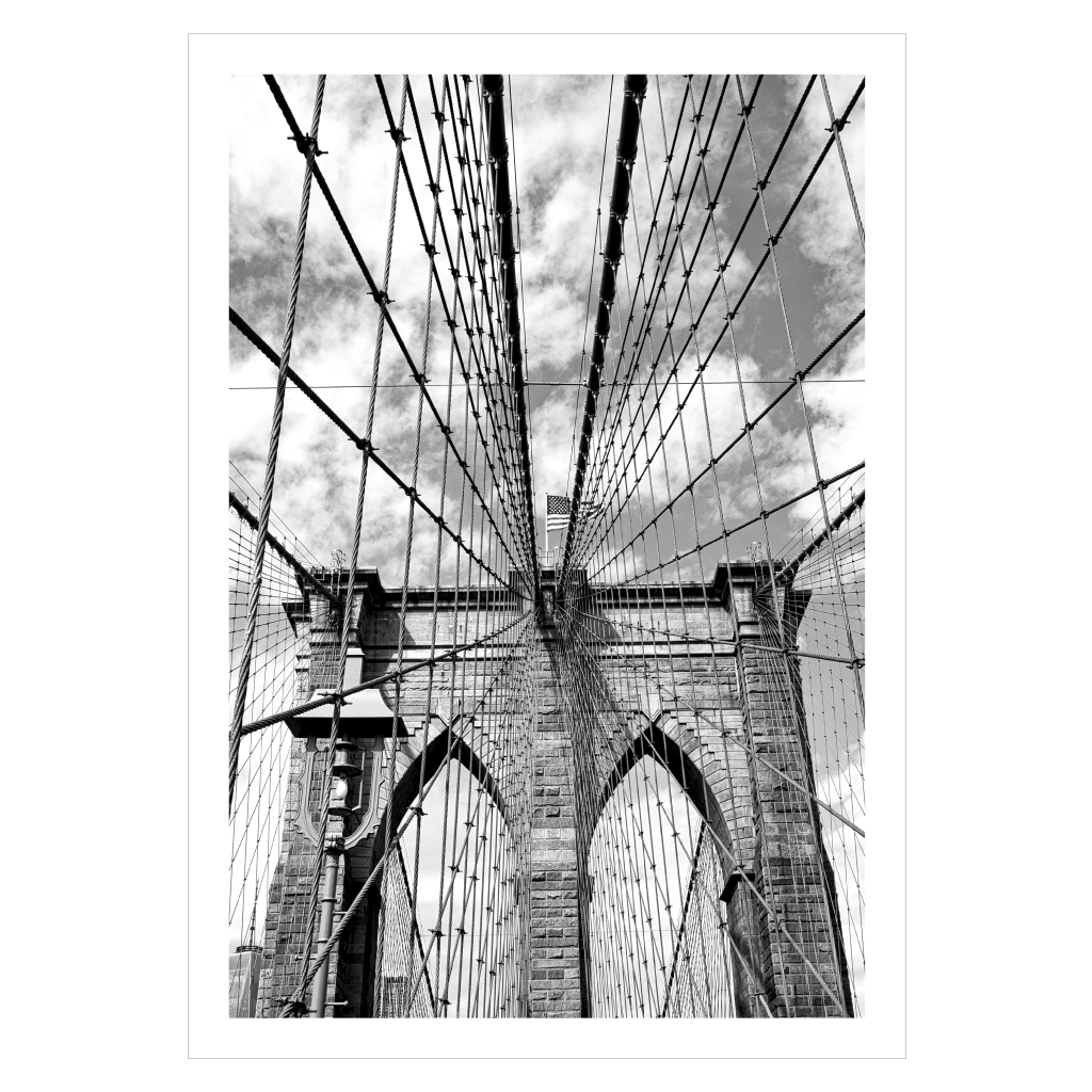 sort hvid new york plakat med brooklyn bridge