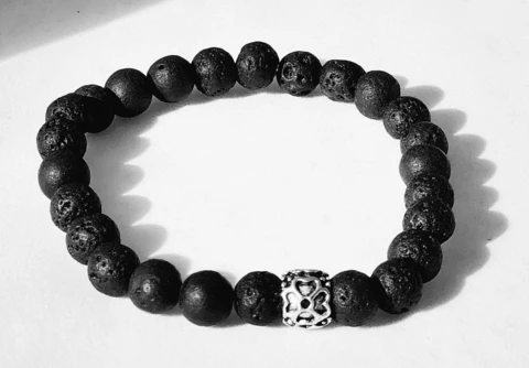 Source ALT Text: BE CALM VOLCANIC LAVA BEAD BRACELET