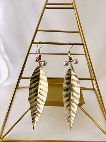 Silver Dhokra Leaf Earrings